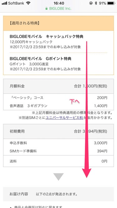 BIGLOBEモバイルキャンペーン確認、費用確認の画像
