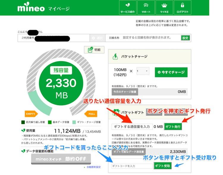 mineoのマイページの画像